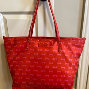 Kate spade diaper bag orange with pink bows